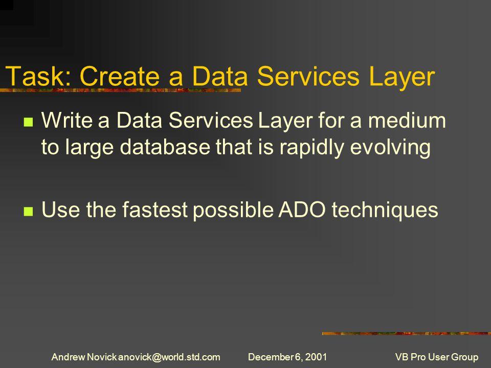 Andrew Novick anovick@world.std.comDecember 6, 2001VB Pro User Group Returns XML With oCMD.Dialect = {5D531CB2-E6ED-11D2-B252-00C04F681B71} Set.CommandStream = oStream.Properties( Output Stream ) = oResultStream.Execute,, adExecuteStream m_sXML = oResultStream.ReadText() End With