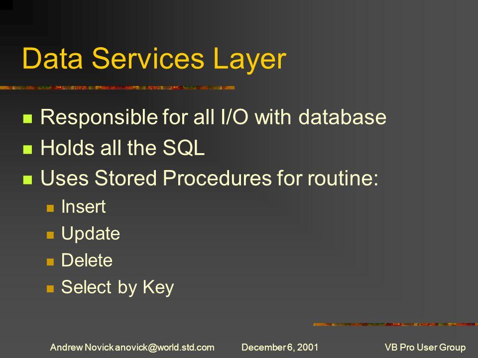 Andrew Novick anovick@world.std.comDecember 6, 2001VB Pro User Group Alternatives for getting Schema Information SQL-DMO ADOX INFORMATION-SCHEMAs