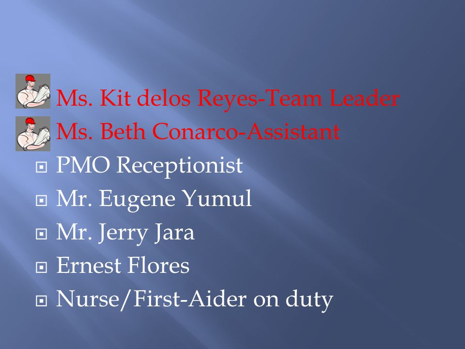 Ms. Kit delos Reyes-Team Leader Ms. Beth Conarco-Assistant PMO Receptionist Mr.