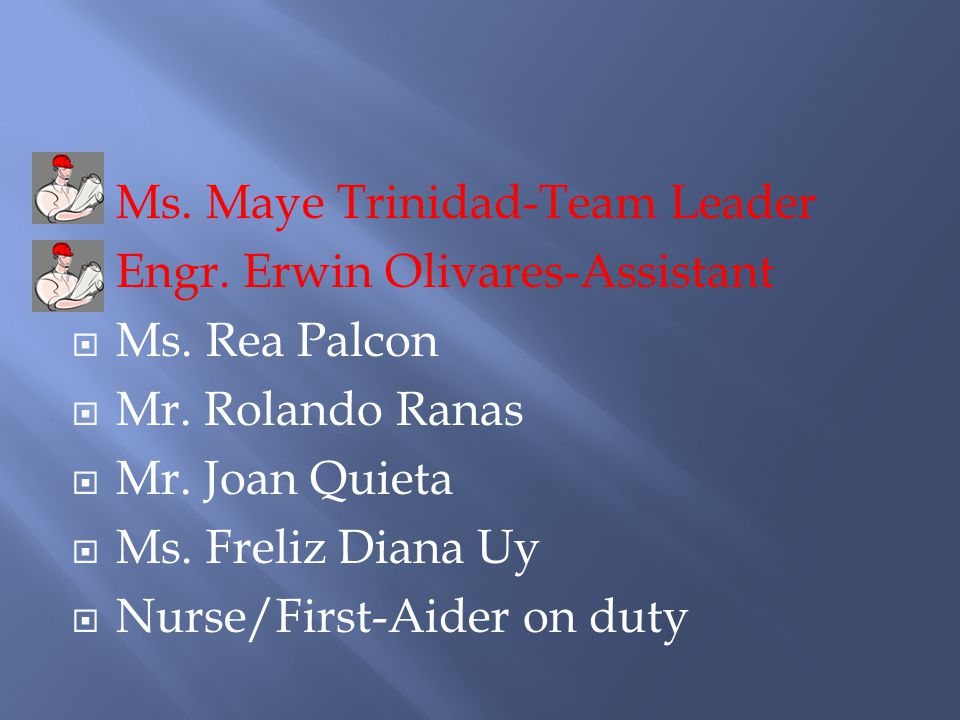 Ms. Maye Trinidad-Team Leader Engr. Erwin Olivares-Assistant Ms.