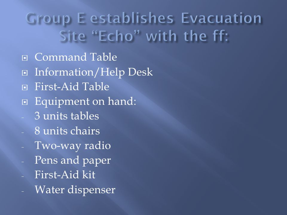 Command Table Information/Help Desk First-Aid Table Equipment on hand: - 3 units tables - 8 units chairs - Two-way radio - Pens and paper - First-Aid kit - Water dispenser