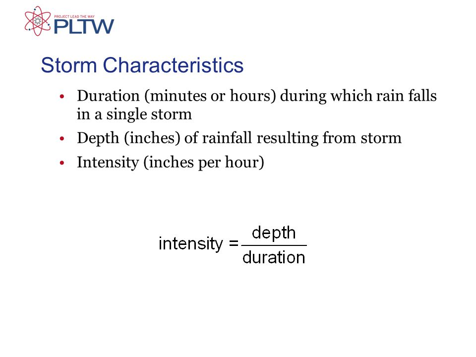 Storm Characteristics Duration (minutes or hours) during which rain falls in a single storm Depth (inches) of rainfall resulting from storm Intensity (inches per hour)