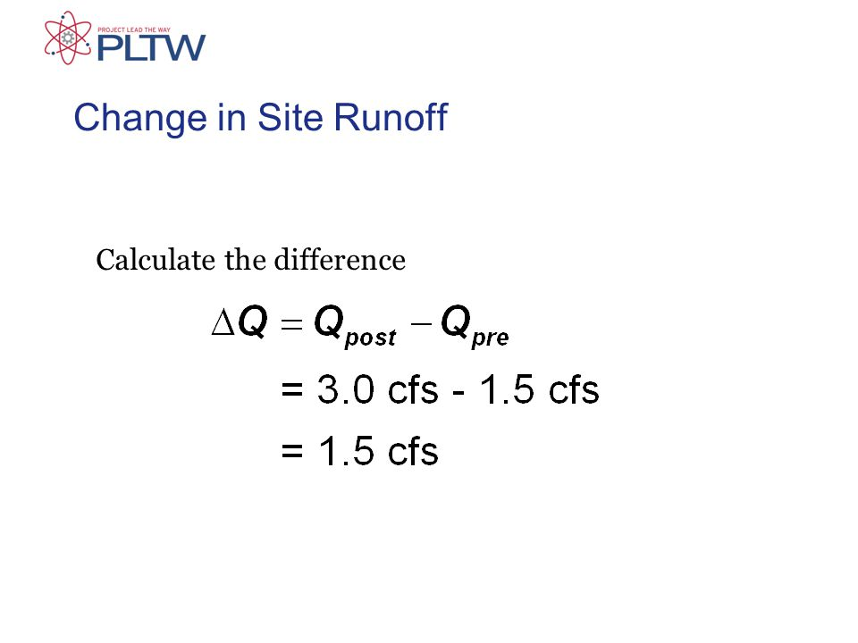 Change in Site Runoff Calculate the difference