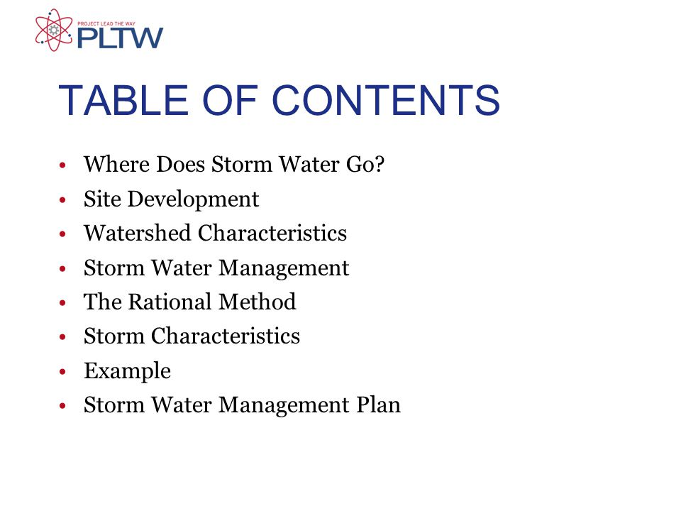 TABLE OF CONTENTS Where Does Storm Water Go.