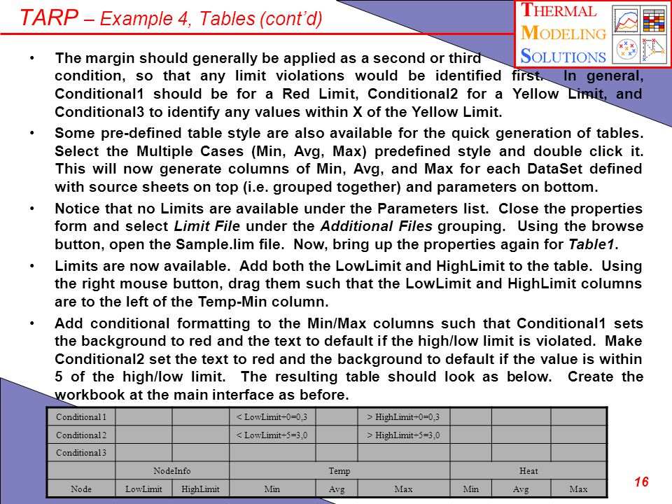 16 TARP – Example 4, Tables (contd) The margin should generally be applied as a second or third condition, so that any limit violations would be identified first.