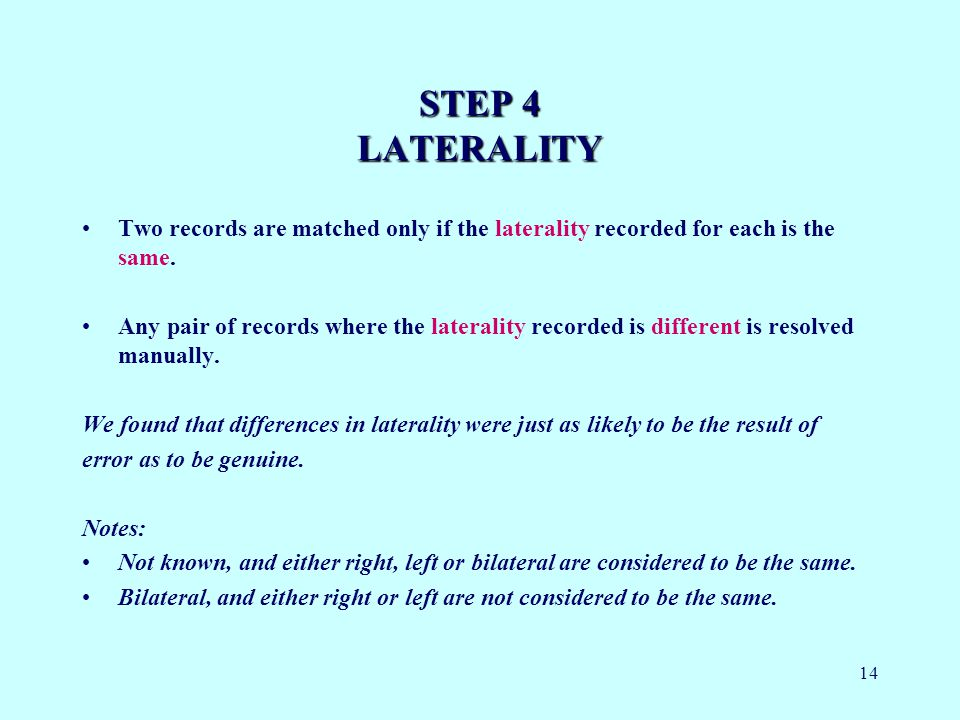 14 STEP 4 LATERALITY Two records are matched only if the laterality recorded for each is the same.