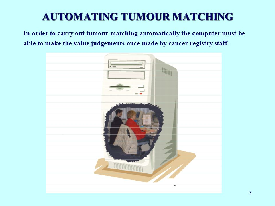 3 AUTOMATING TUMOUR MATCHING In order to carry out tumour matching automatically the computer must be able to make the value judgements once made by cancer registry staff-