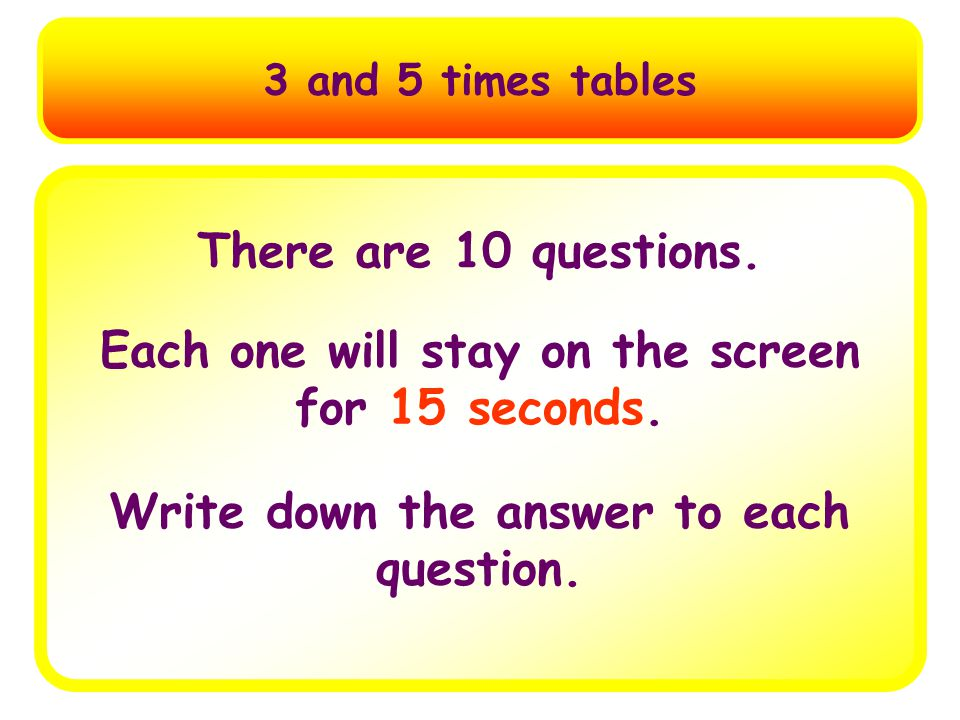 Multiplication Tables Test 3 and 5 Times Tables