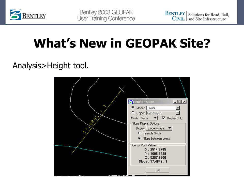 Whats New in GEOPAK Site Analysis>Height tool.
