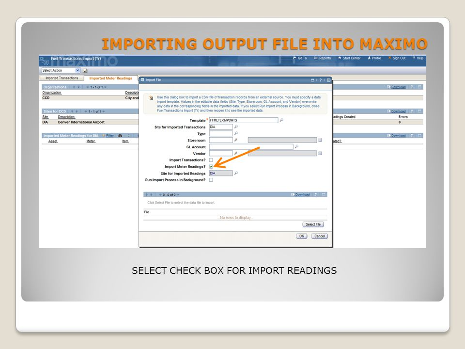 IMPORTING OUTPUT FILE INTO MAXIMO SELECT CHECK BOX FOR IMPORT READINGS