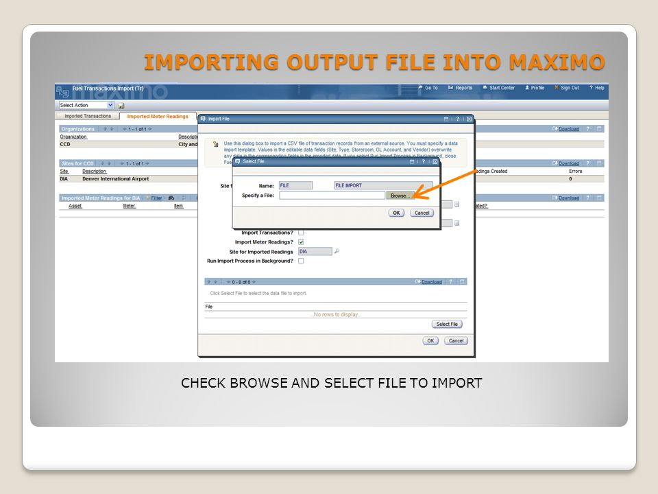 IMPORTING OUTPUT FILE INTO MAXIMO CHECK BROWSE AND SELECT FILE TO IMPORT