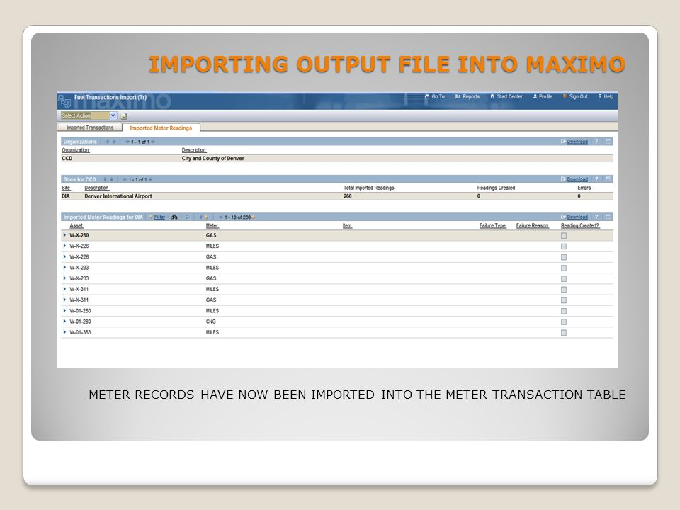 IMPORTING OUTPUT FILE INTO MAXIMO METER RECORDS HAVE NOW BEEN IMPORTED INTO THE METER TRANSACTION TABLE