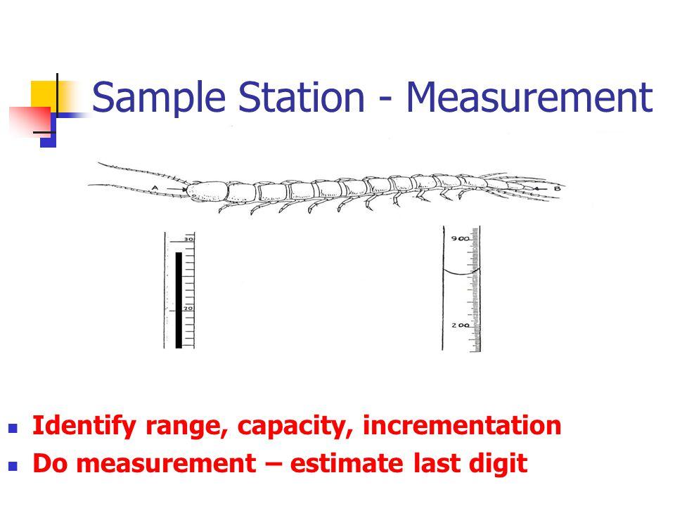 Sample Station - Measurement Identify range, capacity, incrementation Do measurement – estimate last digit