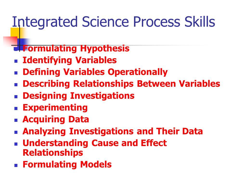 Integrated Science Process Skills Formulating Hypothesis Identifying Variables Defining Variables Operationally Describing Relationships Between Varia