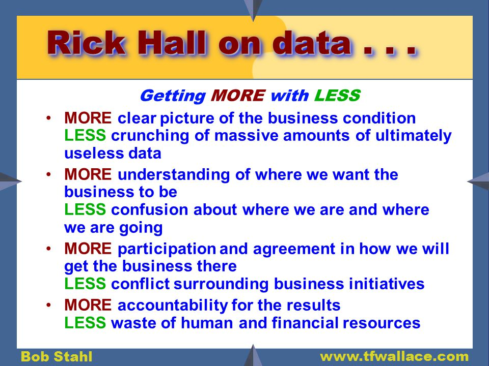Bob Stahl www.tfwallace.com Rick Hall on data...