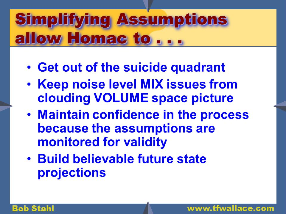 Bob Stahl www.tfwallace.com Simplifying Assumptions allow Homac to...