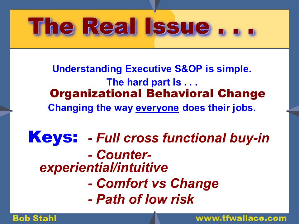 Bob Stahl www.tfwallace.com The Real Issue... Understanding Executive S&OP is simple.