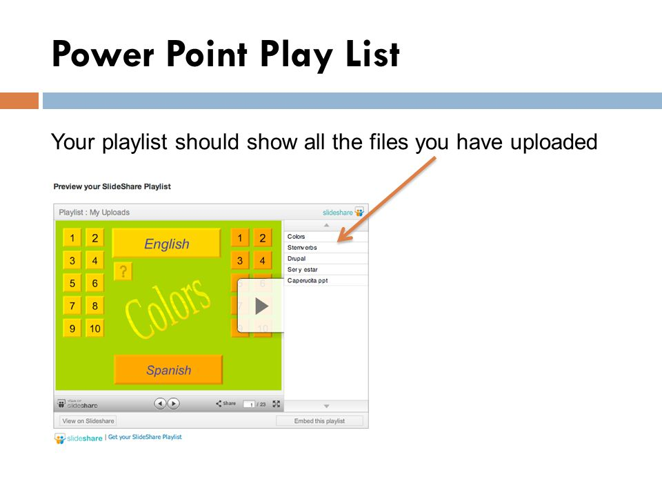 Power Point Play List Your playlist should show all the files you have uploaded