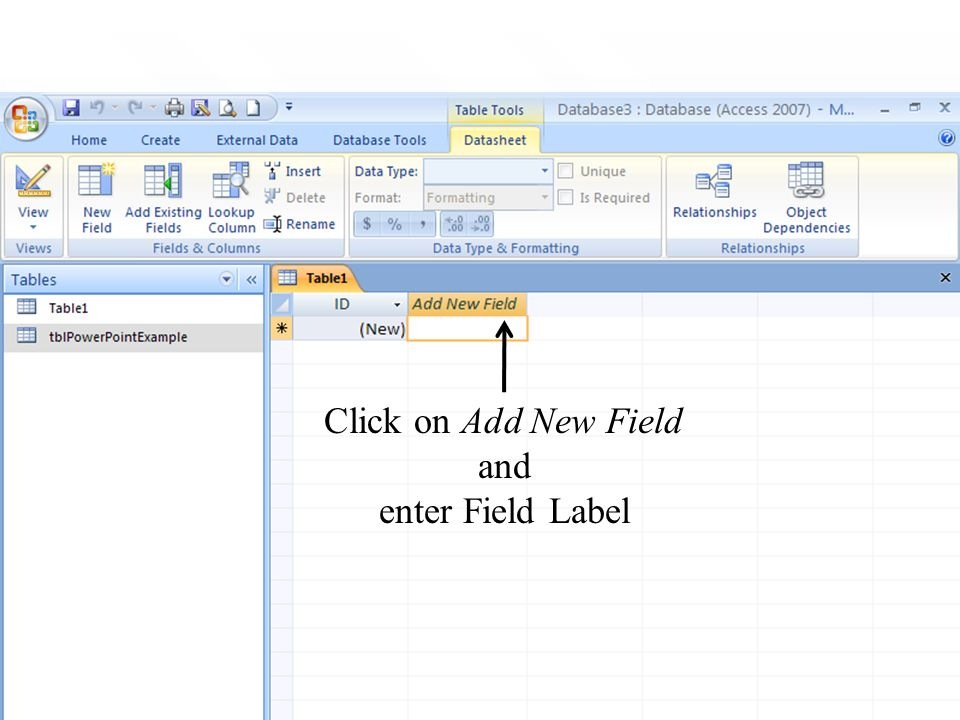 21 Click on Add New Field and enter Field Label