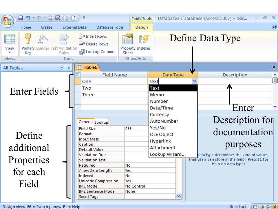 6 Define Data Type Define additional Properties for each Field Enter Fields Enter Description for documentation purposes