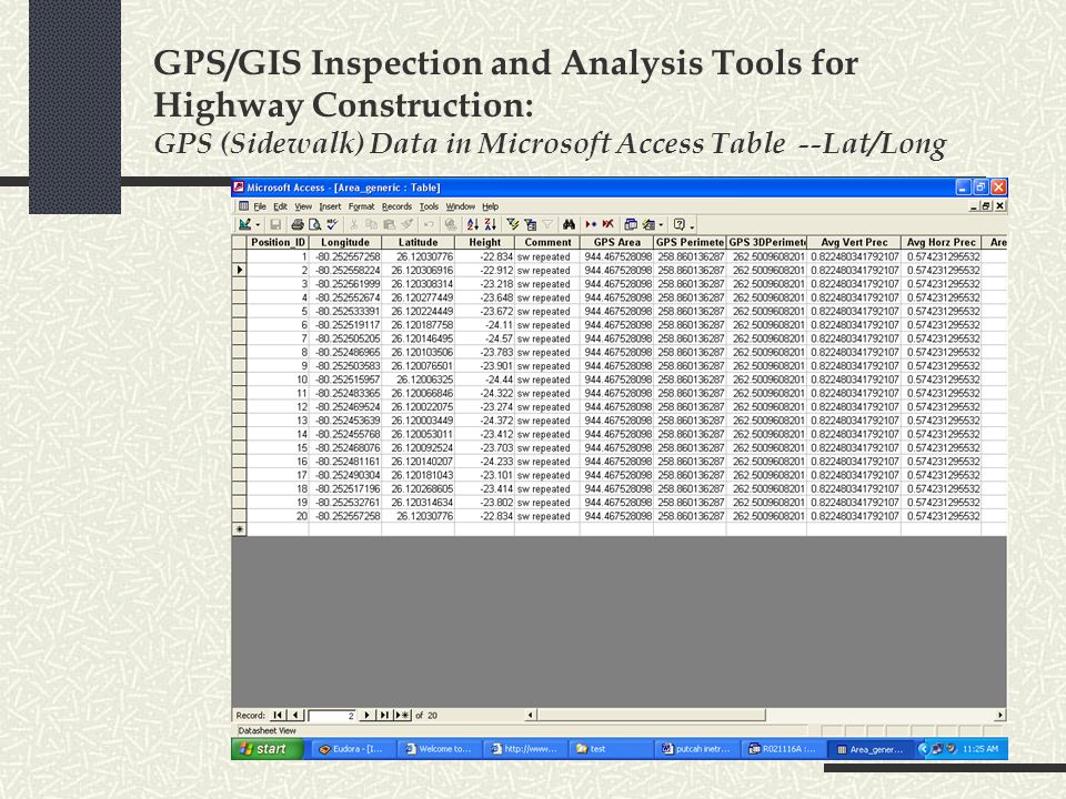 GPS/GIS Inspection and Analysis Tools for Highway Construction: GPS (Sidewalk) Data in Microsoft Access Table --Lat/Long