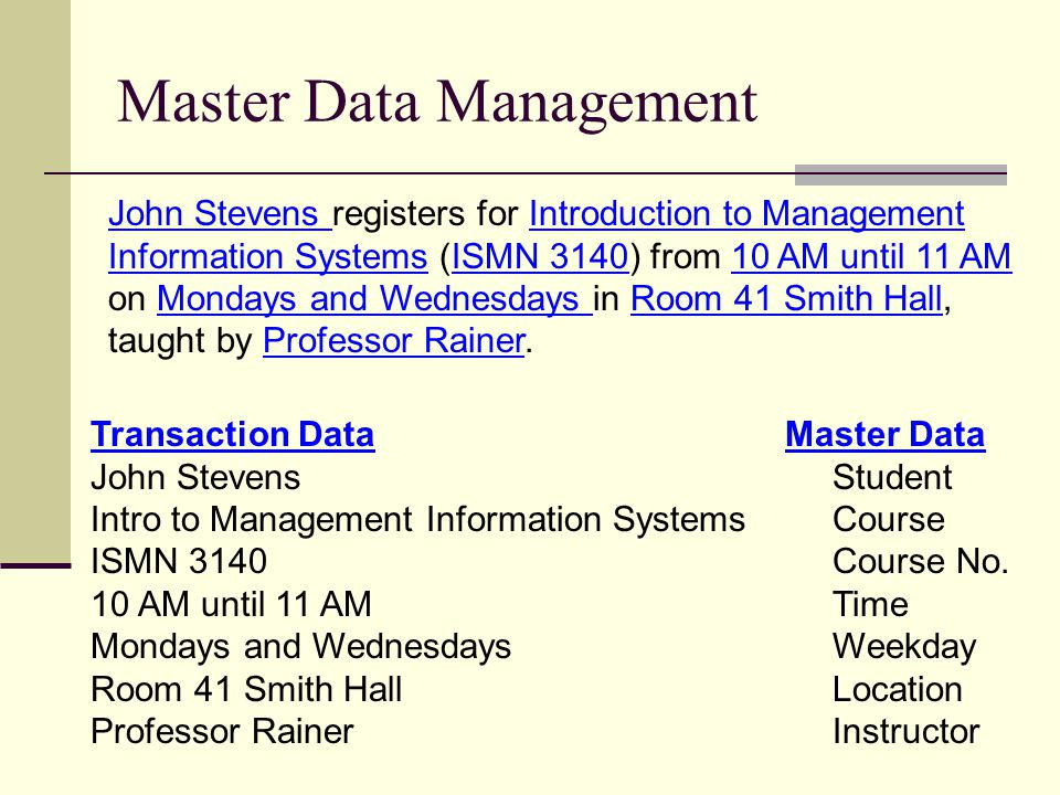 Master Data Management John Stevens registers for Introduction to Management Information Systems (ISMN 3140) from 10 AM until 11 AM on Mondays and Wed