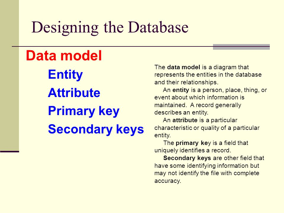 Designing the Database Data model Entity Attribute Primary key Secondary keys The data model is a diagram that represents the entities in the database
