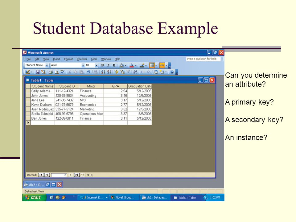 Student Database Example Can you determine an attribute? A primary key? A secondary key? An instance?