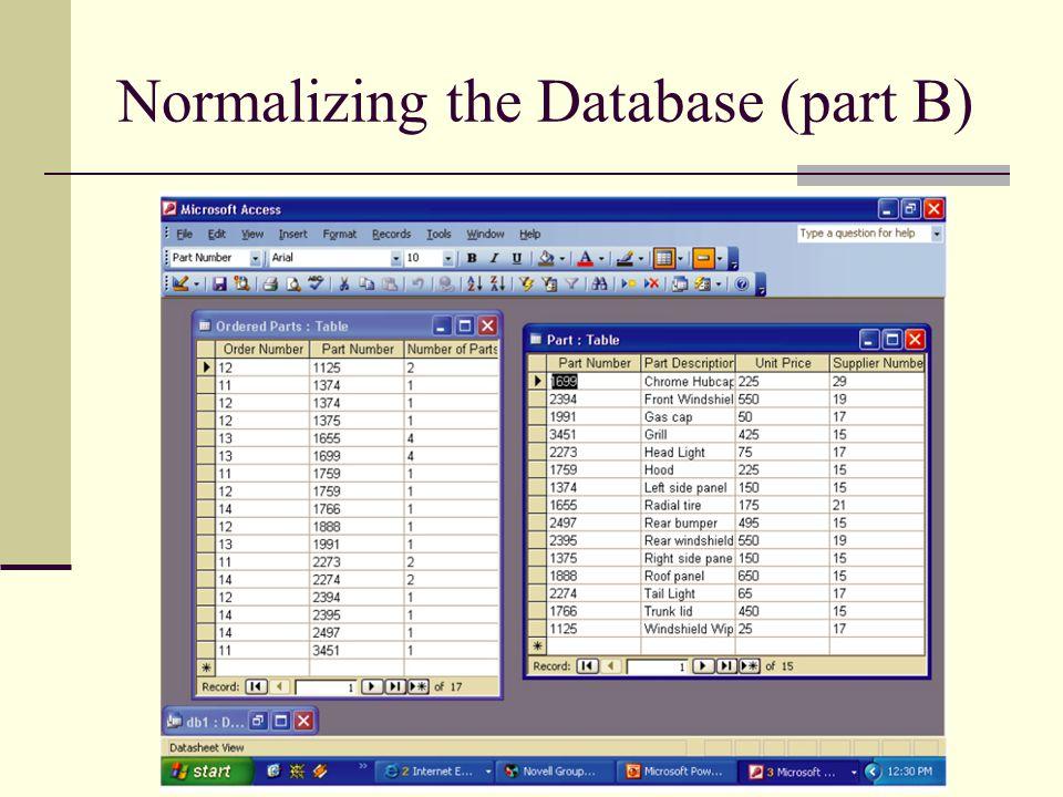 Normalizing the Database (part B)