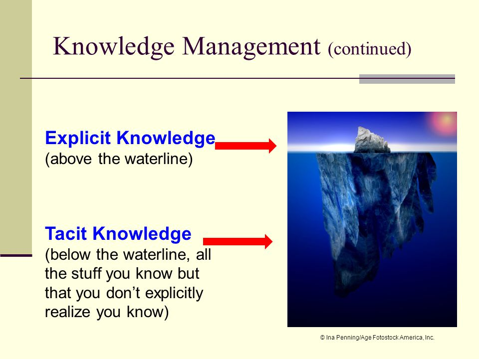 Knowledge Management (continued) Tacit Knowledge (below the waterline, all the stuff you know but that you dont explicitly realize you know) Explicit