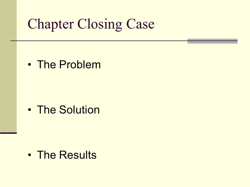 Chapter Closing Case The Problem The Solution The Results