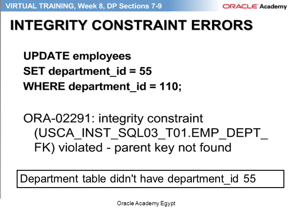Oracle Academy Egypt Department table didn't have department_id 55