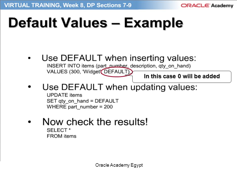 Oracle Academy Egypt In this case 0 will be added