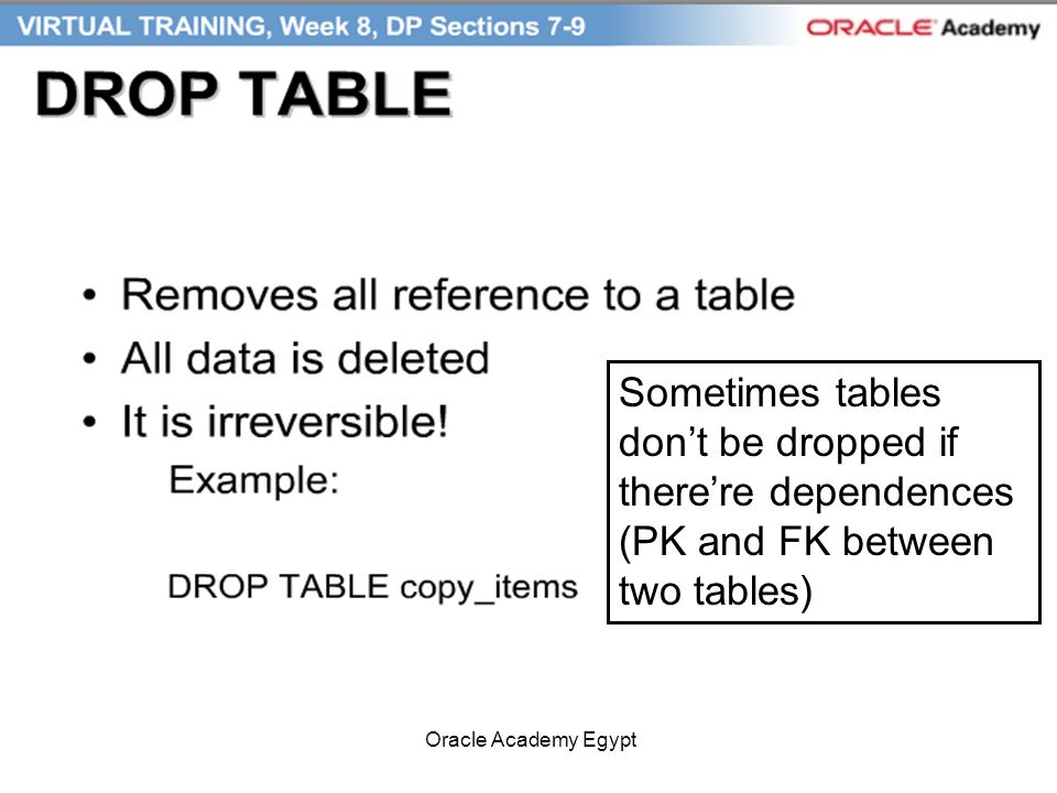 Sometimes tables dont be dropped if therere dependences (PK and FK between two tables)