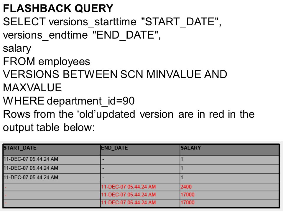 FLASHBACK QUERY SELECT versions_starttime
