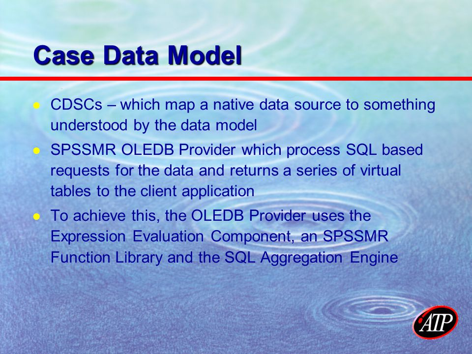 Case Data Model CDSCs – which map a native data source to something understood by the data model SPSSMR OLEDB Provider which process SQL based requests for the data and returns a series of virtual tables to the client application To achieve this, the OLEDB Provider uses the Expression Evaluation Component, an SPSSMR Function Library and the SQL Aggregation Engine