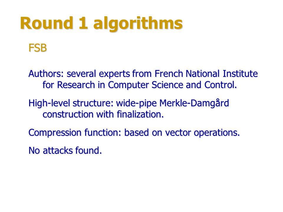Round 1 algorithms Author: Sebastiaan Indesteege, Catholic University of Leuven, Belgium.