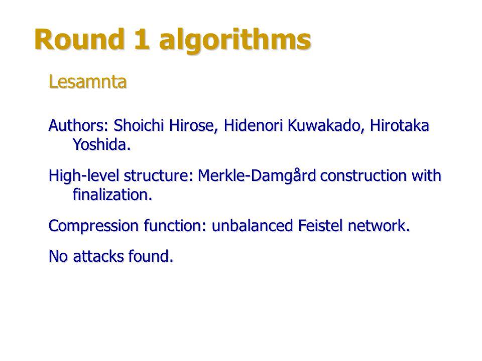 Round 1 algorithms Authors: Ivica Nikolić, Alex Biryukov, Dmitry Khovratovich (University of Luxembourg).