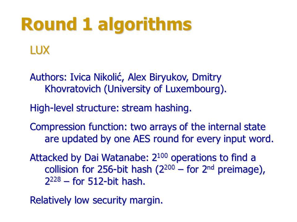 Round 1 algorithms Author: Mikhail Maslennikov.High-level structure: stream hashing.