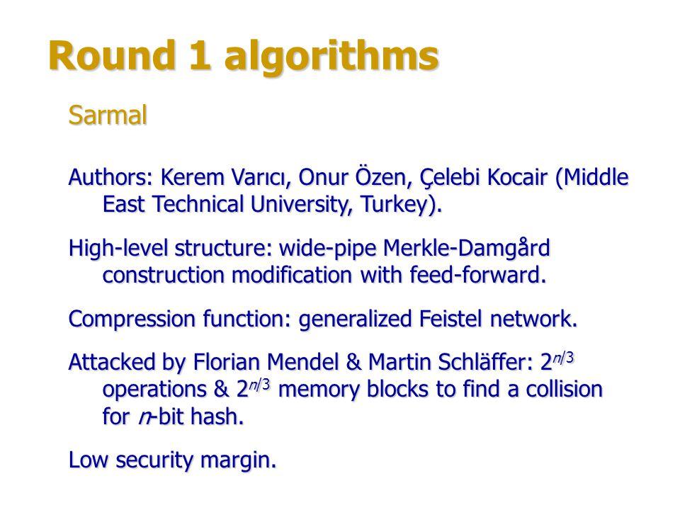 Round 1 algorithms Author: Peter Maxwell.