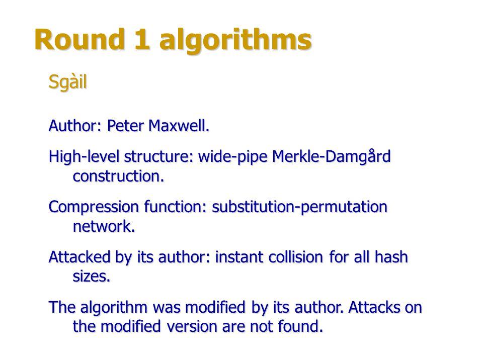 Round 1 algorithms Authors: large group of experts from University of California at Santa Barbara, U.