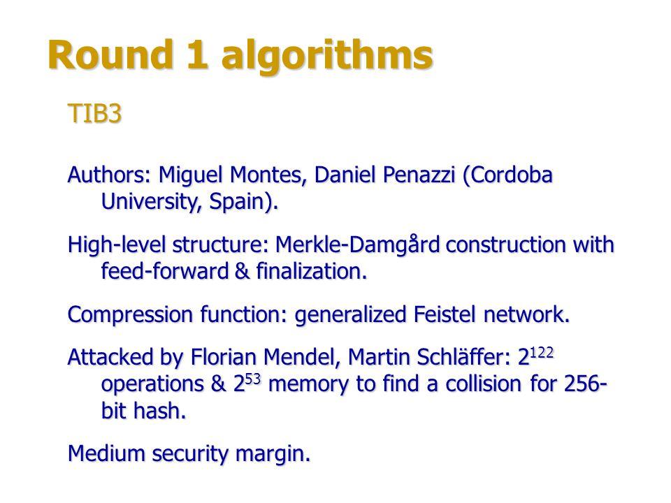 Round 1 algorithms Authors: Ewan Fleischmann, Christian Forler & Michael Gorski.