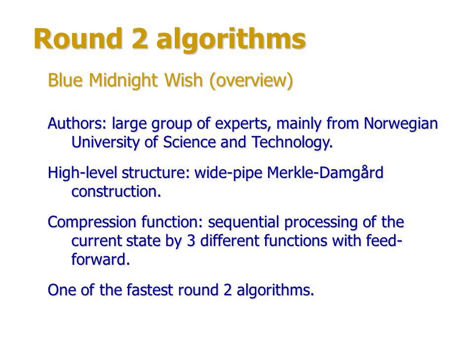 Round 2 algorithms Blue Midnight Wish (structure) Compression function structure:
