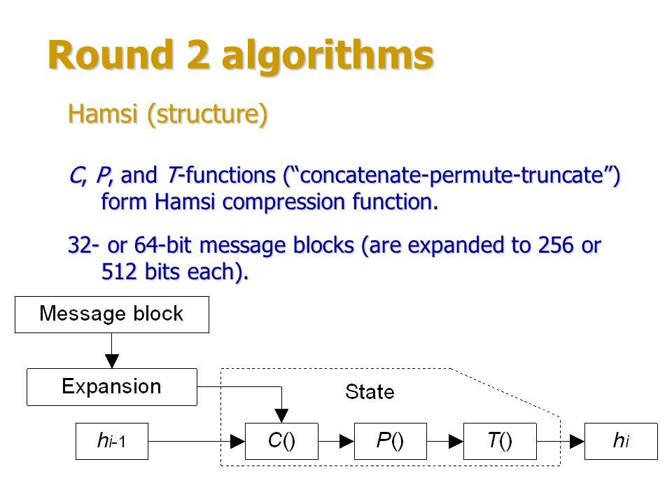 Round 2 algorithms Author: Hongjun Wu (Institute for Infocomm Research, Singapore).