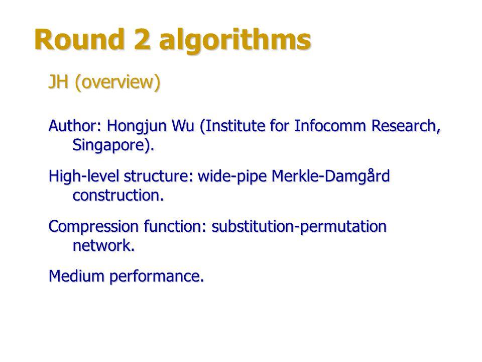 Round 2 algorithms JH (structure) Compression function structure: