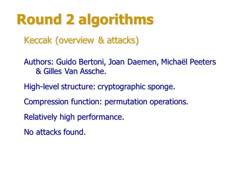 Round 2 algorithms Keccak (structure) Compression function round: