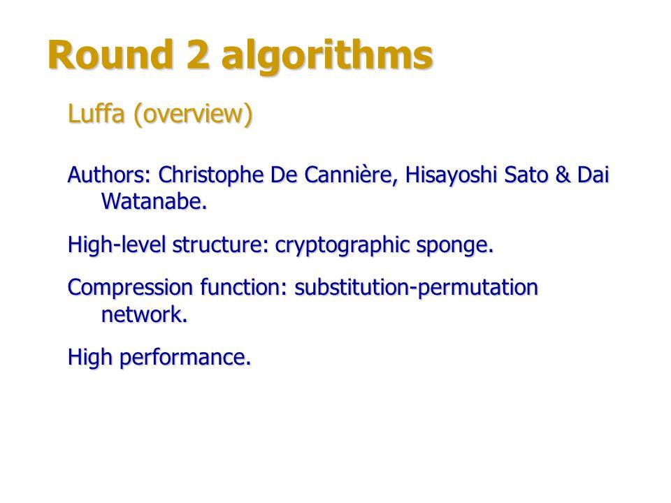 Round 2 algorithms Luffa (structure) Compression function structure: