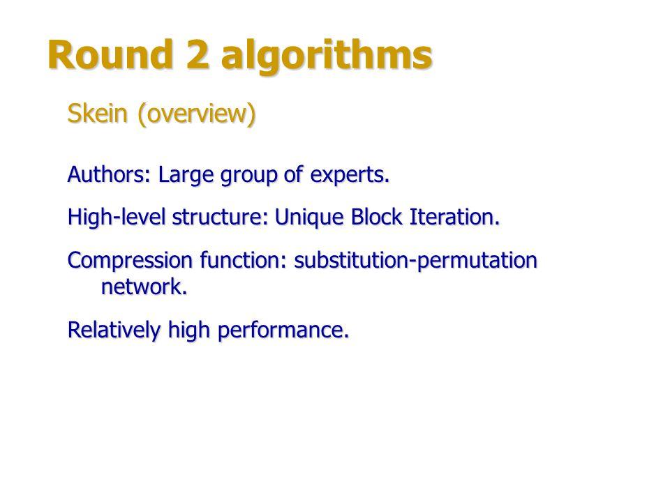 Round 2 algorithms Skein (structure) Compression function based on Threefish block cipher.