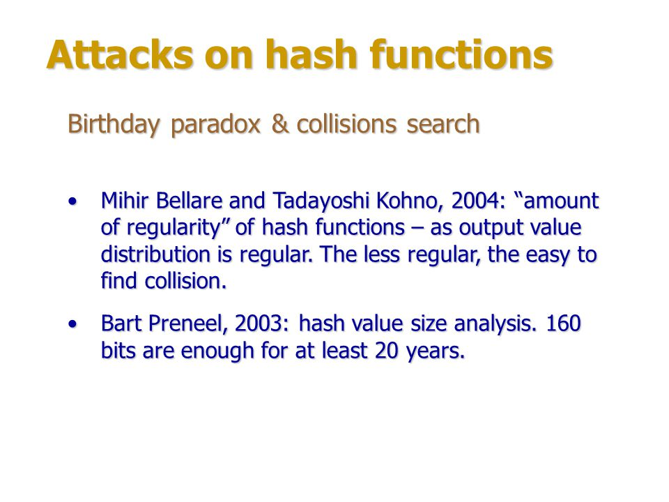 Attacks on hash functions Differential cryptanalysis Florent Chabaud & Antoine Joux, 1998: SHI1 algorithm: