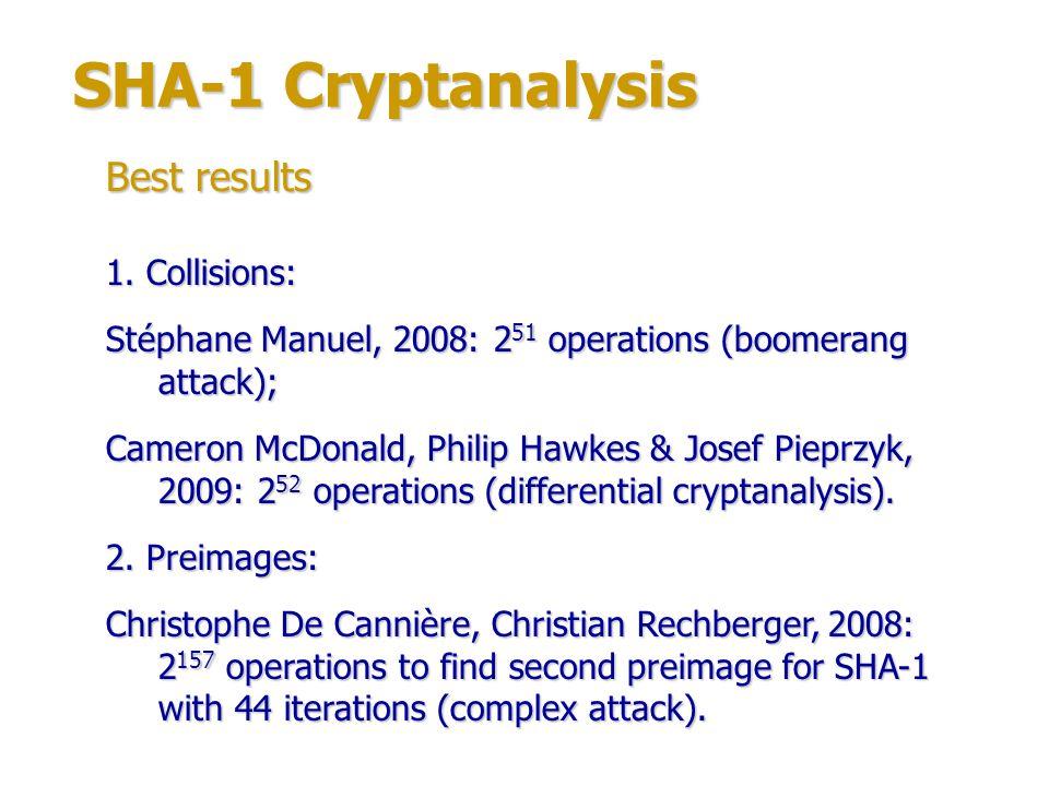 SHA-1 Cryptanalysis 1.